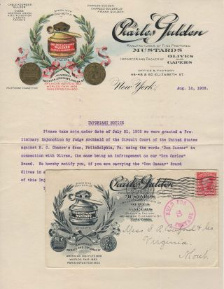 Illustrated letterhead with accompanying illustrated advertising cover for Gulden's Mustard,...