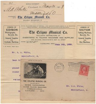 Business letter and invoice for a phonograph wholesaler enclosed in an illustrated advertising...