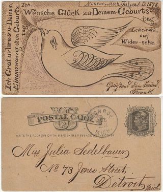 A wonderful calligraphic birthday greeting on the reverse of a U.S. postal card in German...
