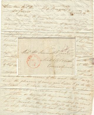 Letter from an American passenger describing the arrival of immigration ship and informing a...