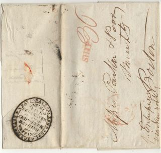 Stampless folded letter sent from London to merchants in Boston with a handstamp advertising...
