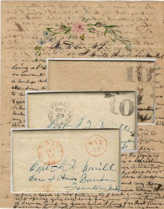 Series of three stampless folded letters from a ship captain to his wife while transporting...
