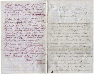 Four-page letter from a sutler describing how he sold goods to soldiers at a large training camp....