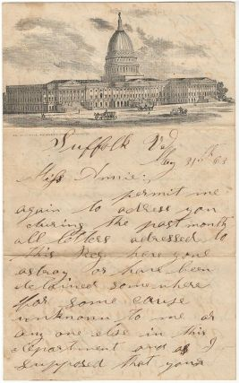 Letter from an Indiana soldier stationed at Suffolk, Virginia commenting upon an attempt by...