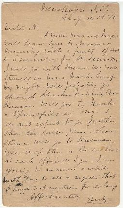 A series of eight postal cards sent by a Quaker missionary escort a group of Seminoles from the...