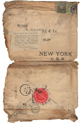 Business mail from Japan to New York that was salvaged from one of the most infamous train wrecks...