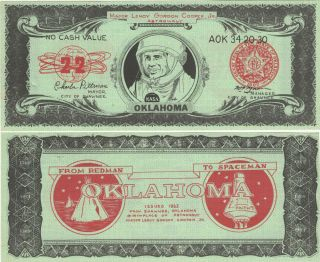 Novelty dollar bill commemorating the Mercury space flight of Leroy Gordon Cooper, one of the...