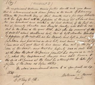 Court document regarding land owned by a mixed Cherokee-white family seized by the State of...