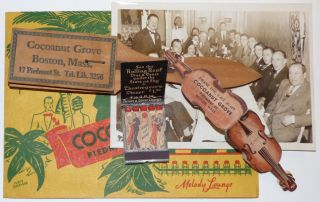 Small grouping of ephemera and artifacts from the infamous Cocoanut Grove night club where 492...