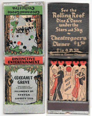 Small grouping of ephemera and artifacts from the famous Cocoanut Grove night club where 492 people were killed in the deadliest nightclub fire in history.