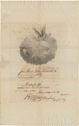 Certificate of Membership in the American Bible Society for John Blount Miller, a slaveholder in...