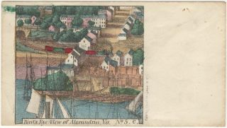 Bird's eye views of Alexandria, Virginia on Union Civil War patriotic envelopes.