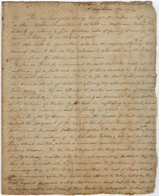 An unpublished, 6-page, raging manifesto against slavery and slave holders by a Conductor for the Underground Railroad who had been tarred, feathered, and exiled from Maryland's Eastern Shore