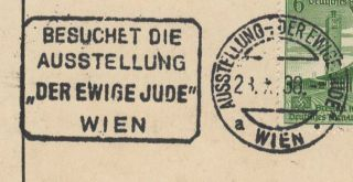 Official postcard for Der ewige Jude (The Eternal Jew) degenerate art (entatete Kunst) Exhibition sponsored by the Nazi Party.