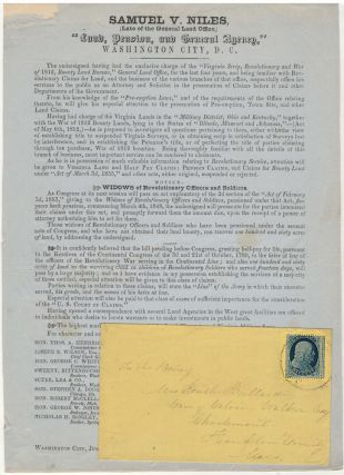 Advertisement for an attorney specializing in obtaining military land patent bounties for...
