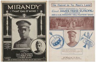 Two pieces of sheet music—Mirandy and On Patrol in No Man's Land—as performed by the 360th...