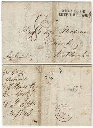 Three-page letter and invoice for trees and bushes from the first commercial nursery in America sent by packet mail from Flushing, New York to a renowned Scottish horticulturist in Edinburg