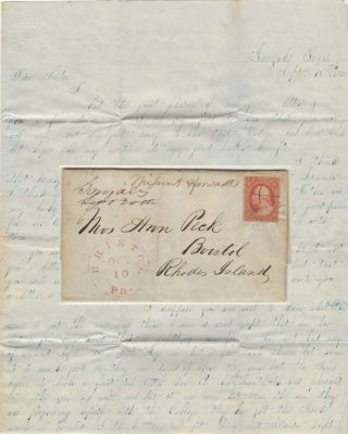 Letter from the son of a Texas pioneer sent to a sister in Rhode Island which includes...
