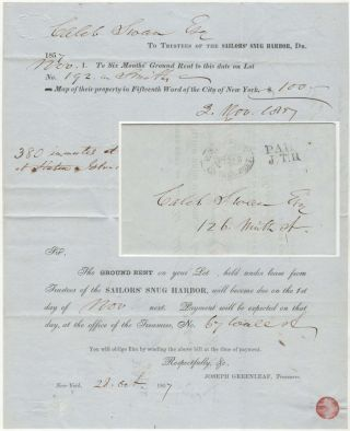Invoice—sent by Boyd's City Express—for property rental to support the Sailors' Snug...