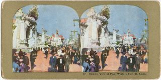 Advertising card and stereoview for Roltair's Creation, one of the most elaborate attraction at the St. Louis World's Fair