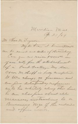 "Letter proposing the establishment of a ""Pant Factory"" in Hattiesburg, Mississippi. W. O. Huff"