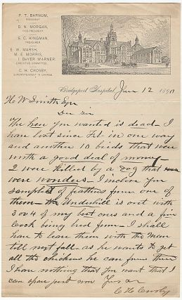 One-page letter on illustrated stationery from a prize-winning poulty breeder who served as the...