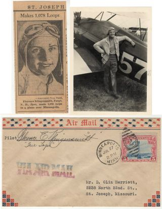 "Small grouping of three items related to the famed American aviatrix Florene E. ""Tree Tops""..."