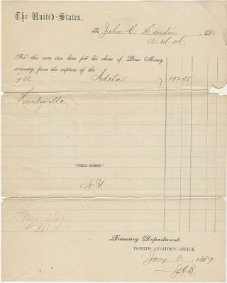 Three documents related to the Civil War Prize Money claims of John C. Hamlin, an Acting Master in the Union Navy, for capture of the blockade runners Adela, Andromeda, and Florida