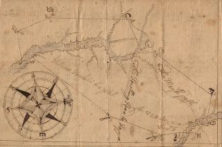 """Colonial surveyor's plat for land owned by William Hackney in """"Richmound"""" i.e., Richmond County, Virginia."""