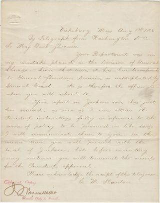 Official copy of a telegram from Secretary of War E. M. Stanton providing guidance regarding...