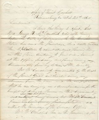 Draft copy of a letter to the Union Army's Office of the Provost Marshall in Williamsburg...