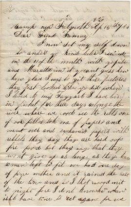 Soldier's letter from a camp near Falmouth, Virginia thanking to sisters for their photographs,...