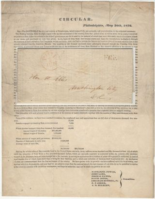 Circular printed and sent to Congress by the Hatters of Philadelphia in support of passing the...
