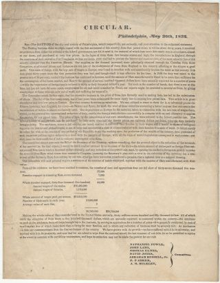 Circular printed and sent to Congress by the Hatters of Philadelphia in support of passing the Protectionist Tariff of 1832