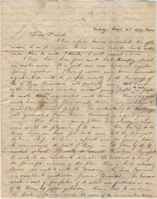 Letter home from a student describing his life and studies at the Uxbridge Academy and plans for establishing a female high school later in the year.