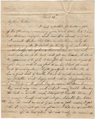"Letter from a woman to her brother informing him that she had recently hired a live-in servant who turned out to be a ""drunkard"""