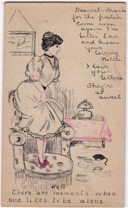 A well done, hand-illustrated post card featuring a young woman standing on a chair as mouse...