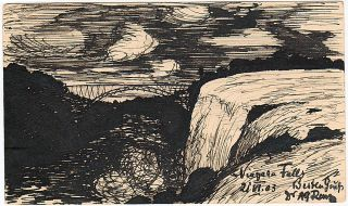 A black and white ink drawing of Niagara Falls on a postal card that was sent to Germany. but...