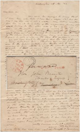 An autograph letter signed by Samuel D. Ingham to John Branch about Sam Houston's bludgeoning...