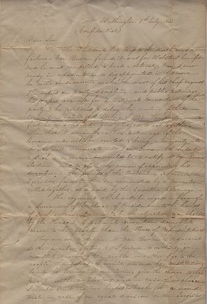 An autograph letter signed by Duff Green, a former President Jackson loyalist who had abandoned him in favor of John C. Calhoun, to Charles A Wickliffe, an influential Whig Congressman from Kentucky