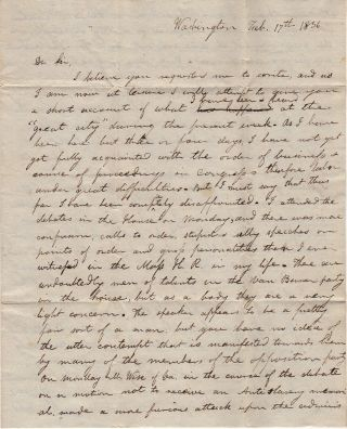 "Letter from a Massachusetts politician reporting upon John C. Calhoun's fiery anti-Jacksonian ""We shall put him out"" speech"