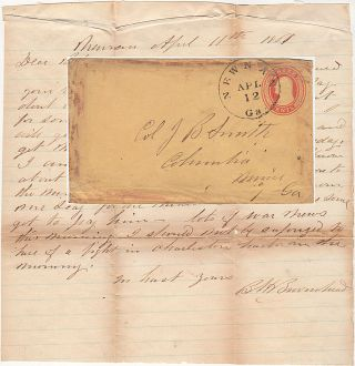 Confederate letter on U.S. postal stationery written on 11 April 1861 accurately predicting the...