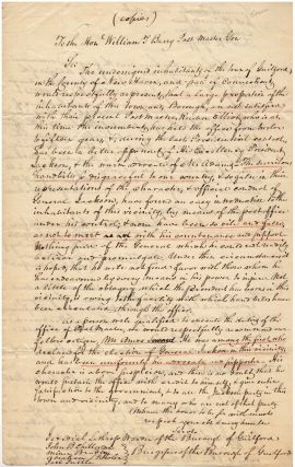Three-page working copy of a petition by citizens from Guilford, Connecticut to the Postmaster...