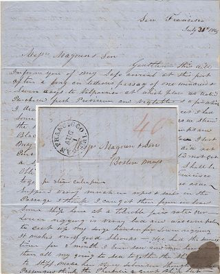 Letter from an early Forty-Niner ship captain describing his arduous voyage and the chaos in San...