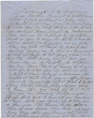 Letter from a recently successful lumberman encouraging his brother and brother-in-law back home in Rhode Island to come to California and work for him