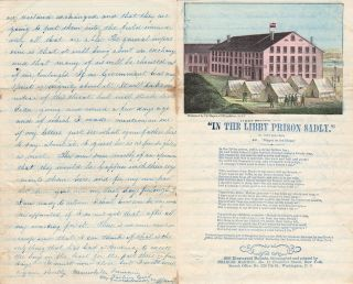 A parolee's cryptic letter with an original poem written on an attractive Libby Prison letter...