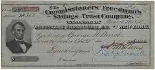 A used, but uncancelled, dividend check from the Office of the Commissioners of the Freedman's...