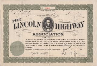 Donation certificate from The Lincoln Highway Association. To B. C. Sammons, Benjamin Chester