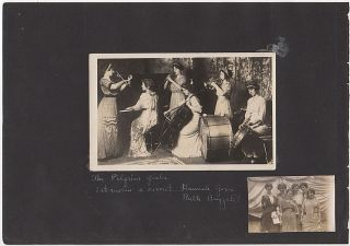 "Two photographs of ""The Pilgrim Girls,"" a popular all-woman band that performed on the Lyceum..."