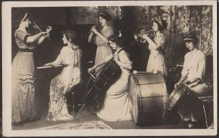 "Two photographs of ""The Pilgrim Girls,"" a popular all-woman band that performed on the Lyceum and Chautauqua circuits"